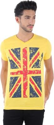 Burdy Printed Men's V-neck Yellow T-Shirt