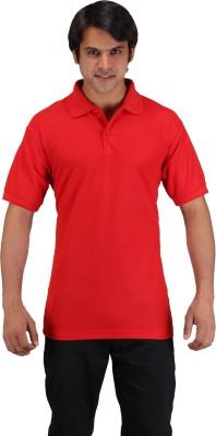 Aqua Solid Men's Polo Neck Red T-Shirt