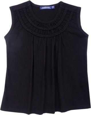 Campana Solid Girl's Round Neck Black T-Shirt
