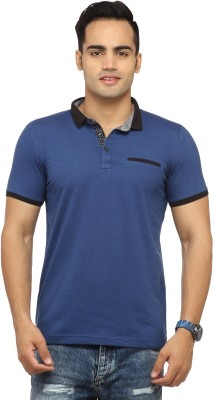 Byrock Solid Men's Mandarin Collar Blue T-Shirt