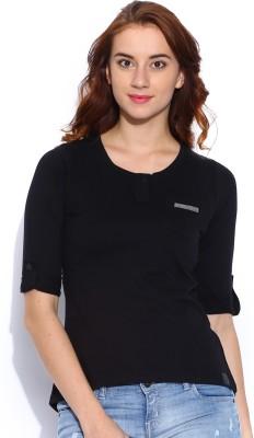 Cult Fiction Solid Women's Henley T-Shirt