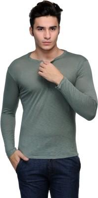 Flippd Solid Men's Henley Dark Green T-Shirt
