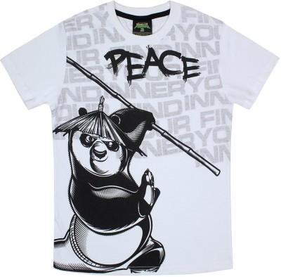KUNG FU PANDA Printed Boy's Round Neck White T-Shirt