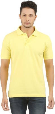 SUNNY Solid Men's Polo Yellow T-Shirt