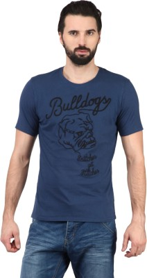 Ringspun Graphic Print Men's Round Neck Blue T-Shirt