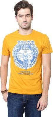 People Printed Men's Round Neck Yellow T-Shirt
