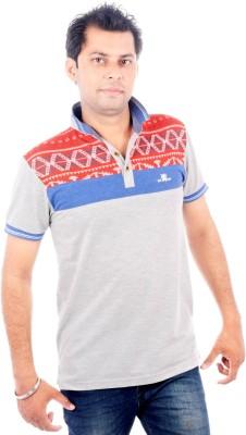 Brandwear Printed Men's Polo Neck Grey T-Shirt