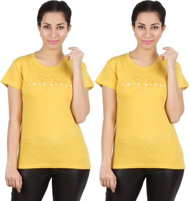 Twin Birds Printed Women's Round Neck Yellow T-Shirt