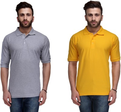 Ausy Solid Men's Polo Grey, Yellow T-Shirt