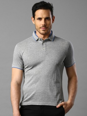 Invictus Solid Men's Polo Neck Grey T-Shirt