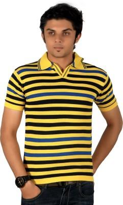 A33 Store Striped Men's Flap Collar Neck Yellow, Black T-Shirt
