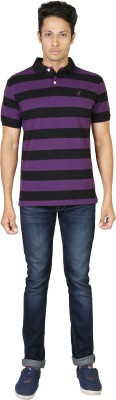 Being Odia Striped Men's Polo Neck Purple T-Shirt