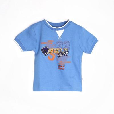Mee Mee Graphic Print Boy's Round Neck Blue T-Shirt