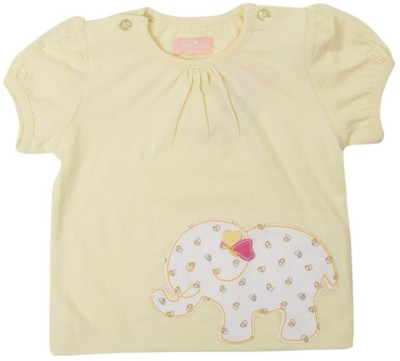 JusCubs Solid Baby Girl's Round Neck Yellow T-Shirt