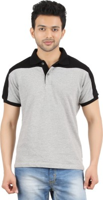 MA Solid Men's Polo Neck Grey, Black T-Shirt