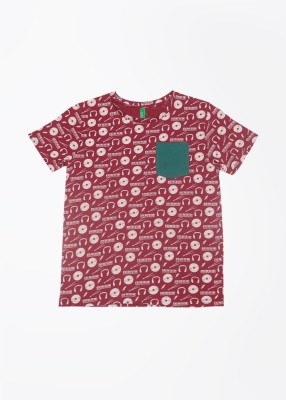 United Colors of Benetton Printed Boy's Round Neck Maroon T-Shirt