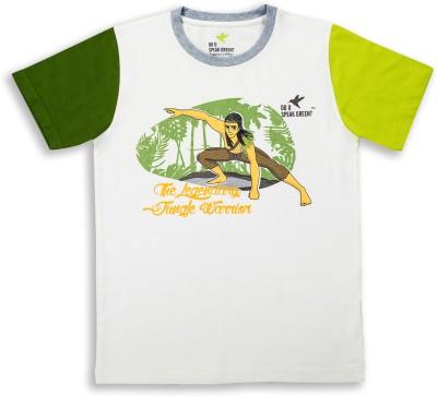 Do U Speak Green Graphic Print Boy's Round Neck White T-Shirt