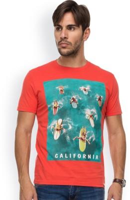 Blue Monkey Printed Men's Round Neck Red T-Shirt