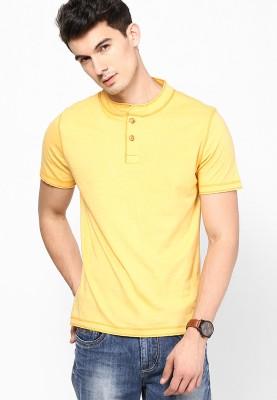 Camino Solid Men's Henley Yellow T-Shirt