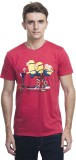 Minions Printed Men's Round Neck Red T-S...
