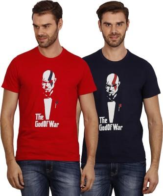 Crush on Craze Printed Men's Round Neck Red, Dark Blue T-Shirt