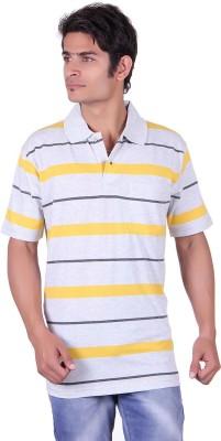 JAYIS Striped Men's Polo Neck Grey T-Shirt