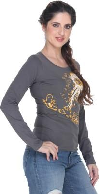 Fast n Fashion Graphic Print Women's Boat Neck Grey T-Shirt
