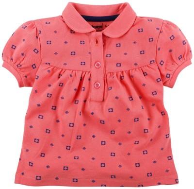 Babyoye Premium Printed Girl's Peter Pan Collar Pink T-Shirt