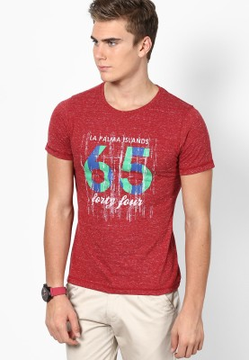 Camino Printed Men's Round Neck Red T-Shirt