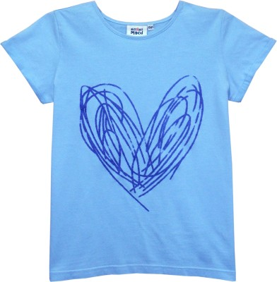 Abstract Mood Printed Girl's Round Neck Light Blue T-Shirt