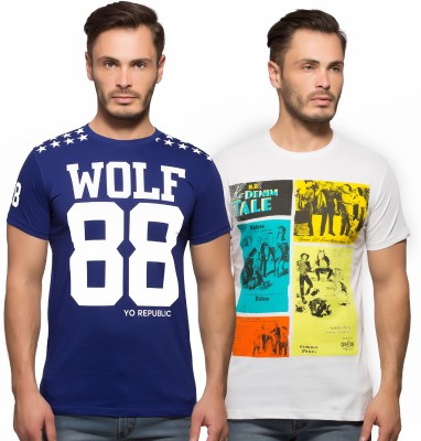 Yo Republic Printed Men's Round Neck Blue, White T-Shirt
