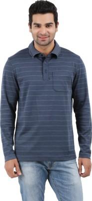 Donz Striped Men's Polo Neck Dark Blue T-Shirt