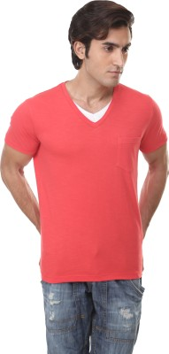 Skatti Solid Men,s V-neck Orange T-Shirt