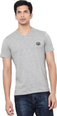 La Seven Solid Men's V-neck Grey T-Shirt