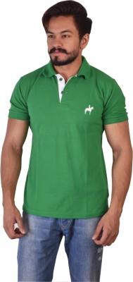 Kapeur Solid Men's Polo Neck Green T-Shirt