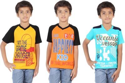 Maringo Classic Printed Boy's Round Neck Yellow T-Shirt