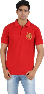 R - Cross Solid Men's Polo Neck Red T-Shirt