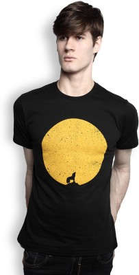 TOMO Printed Men's Round Neck Black T-Shirt
