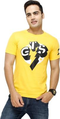 Attitude Printed Men's Round Neck Yellow T-Shirt