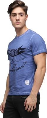 UJC Graphic Print Men's Round Neck Blue T-Shirt