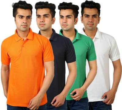 DEWY Solid Men's Polo Neck Multicolor T-Shirt