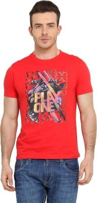 Tecza Printed Men,s Round Neck Red T-Shirt