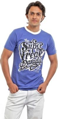 BG69 Graphic Print Men's Round Neck Blue T-Shirt