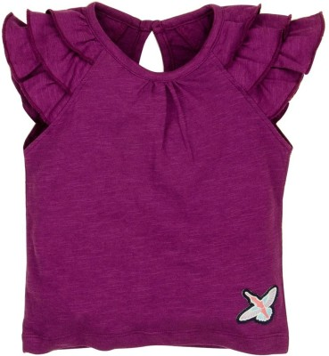 Mom & Me Solid Baby Girl's Round Neck Purple T-Shirt