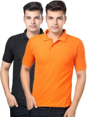 eSOUL Solid Men's Polo Neck Black, Orange T-Shirt