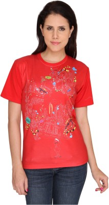 Idiot Theory Graphic Print Women,s Round Neck Red T-Shirt