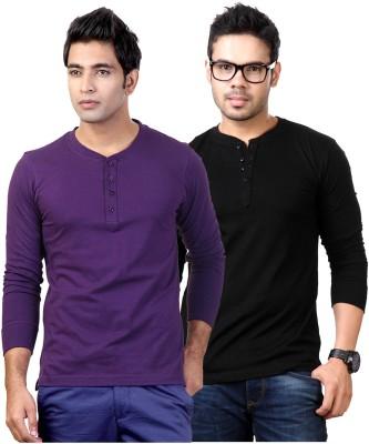 Top Notch Solid Men's Henley Purple, Black T-Shirt