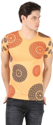 A1 Tees Printed Men's V-neck Orange T-Shirt