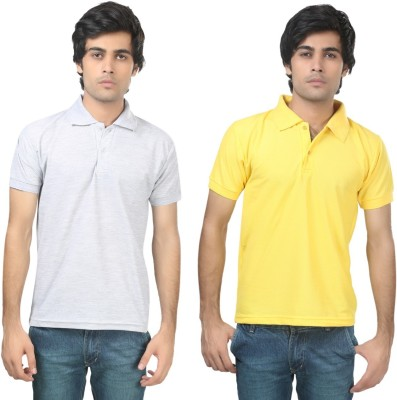 Stylish Trotters Solid Men's Polo Grey, Yellow T-Shirt