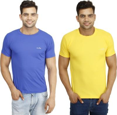 Eprilla Solid Men,s Round Neck Blue, Yellow T-Shirt